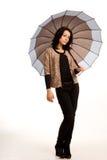 Elegancka kobieta trzyma parasol Fotografia Stock