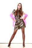 Elegancka kobieta w wieczór cekinu sukni Obraz Royalty Free