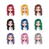 Elegancka kobieta z kędzierzawym włosy - 9 różnych włosów kolorów Zdjęcia Royalty Free