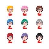 Elegancka kobieta z szkłami - 9 różnych włosów kolorów Obraz Royalty Free