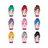 Elegancka kobieta z włosy w babeczce - 9 różnych włosów kolorów Zdjęcia Stock