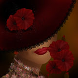 Elegancka piękna kobieta w koronkowym kapeluszu z czerwonymi kwiatami Fotografia Royalty Free