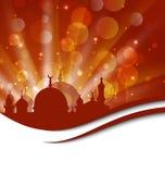 Elegancka religijna karta z pięknym meczetem Zdjęcia Royalty Free