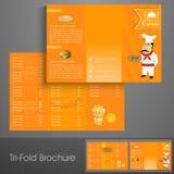 Elegancka trifold broszurka, szablon lub ulotka dla restauraci, Zdjęcia Stock