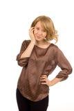 Elegancka uśmiechnięta blondynki kobieta Fotografia Stock