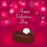 Elegancka wakacje karta z czekoladowym cukierkiem w postaci serc, białego łęku i słowo walentynki ` s dnia, Stosowny dla invitati ilustracji