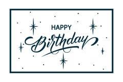 Elegancka wektorowa wszystkiego najlepszego z okazji urodzin karta Wektorowa gratulacje karta z gwiaździstą tła, ramowej i piękne royalty ilustracja