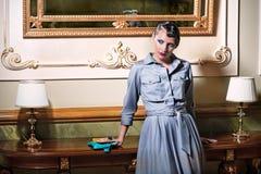 elegancka wewnętrzna luksusowa retro stylowa kobieta Obraz Stock