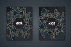 Elegancka zaproszenie karta dla nowego roku Deseniowa mozaika od zmroku - błękitni trójboki na czarnym tle Złoci trójboki sztanda royalty ilustracja