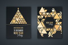 Elegancka zaproszenie karta dla nowego roku ` s przyjęcia Deseniowa mozaika robić złoci olśniewający trójboki na czarnym tle Boże ilustracja wektor