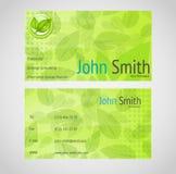 Elegancka zielona wektorowa wizytówka z standardem 9 Zdjęcia Stock