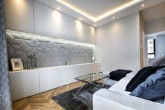 Elegancki żywy pokój z betonową dekoraci ścianą zdjęcie stock