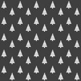 Elegancki abstrakcjonistyczny bezszwowy wzór z czarnymi graficznymi drzewami Obrazy Royalty Free