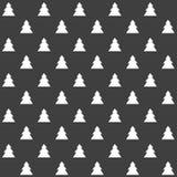 Elegancki abstrakcjonistyczny bezszwowy wzór z czarnymi graficznymi drzewami Zdjęcie Stock