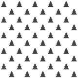 Elegancki abstrakcjonistyczny bezszwowy wzór z czarnymi graficznymi drzewami Fotografia Royalty Free