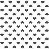 Elegancki abstrakcjonistyczny bezszwowy wzór z czarnymi graficznymi sercami Obrazy Stock