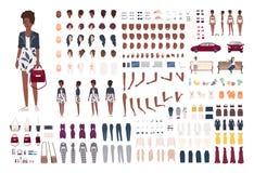Elegancki amerykanin afrykańskiego pochodzenia kobiety konstruktor Modny dziewczyny tworzenia set Różnorodne postury, fryzura, tw ilustracja wektor