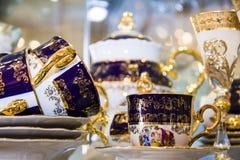 Elegancki błękitny artystyczny herbata set Fotografia Royalty Free