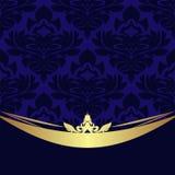 Elegancki błękitny ornamentacyjny tło z złotą granicą Zdjęcie Stock