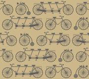 Elegancki bezszwowy wzór z retro bicyklami Zdjęcia Royalty Free