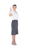 Elegancki bizneswoman pokazuje zadowalającego gest Zdjęcie Stock