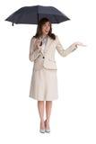 Elegancki bizneswoman trzyma czarnego parasol Obraz Royalty Free