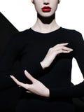 Elegancki blode w geometrycznym czarny i biały tle obraz royalty free