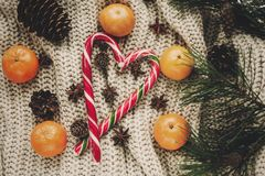 Elegancki bożego narodzenia mieszkanie nieatutowy miętowego cukierku trzcina z tangerine Fotografia Royalty Free