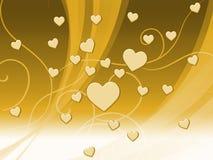 Elegancki Brown serc tło Znaczy Delikatną pasję Lub Świetnego W ilustracji