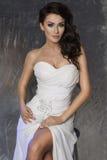 Elegancki brunetki piękna pozować Fotografia Stock
