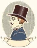 Elegancki dżentelmen w odgórnym czarnym kapeluszu. Wektorowy vintag royalty ilustracja