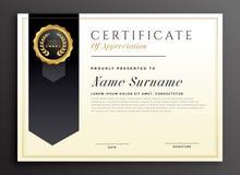 Elegancki dyplom nagrody świadectwa szablonu projekt ilustracji