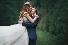Elegancki elegancki fornal z jego szczęśliwą wspaniałą brunetki panną młodą dalej Zdjęcie Stock
