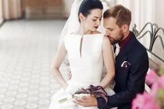 Elegancki elegancki przystojny fornal delikatnie całuje w naramiennym gorgeo Zdjęcia Royalty Free