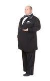 Elegancki gruby mężczyzna w łęku krawata wskazywać Obrazy Stock