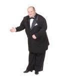 Elegancki gruby mężczyzna w łęku krawata wskazywać Fotografia Royalty Free