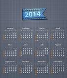 Elegancki kalendarz dla 2014 na bieliźnianej teksturze z cajgu przyczepieniem Zdjęcie Royalty Free