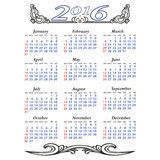 Elegancki kalendarz z kwiatami dla roku Obrazy Stock