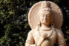 Elegancki Kamienny Buddha z naczynia zbliżeniem Zdjęcia Royalty Free