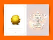 Elegancki kartka z pozdrowieniami dla St Patrick dnia świętowania Fotografia Stock