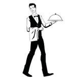 Elegancki kelner z tacą ilustracja wektor