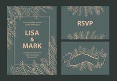 Elegancki khaki i beż barwiliśmy ślubnych zaproszenie szablony ustawiających z kwiecistego liścia gałąź ilustracja wektor