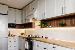 Elegancki kuchenny wewnętrzny projekt Luksusowy nowożytny kuchenny meble w popielatym koloru i stali piekarniku, fridge, zlew, dr obraz royalty free