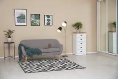Elegancki lekki izbowy wnętrze z wygodną kanapą fotografia stock