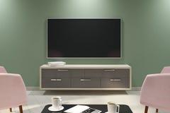 Elegancki lekki wnętrze z pustym TV Zdjęcia Royalty Free