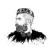 Elegancki mężczyzna z brodą długo człowiek włosy Wektorowa ilustracja dla plakata lub karty Druk na odziewa barbershop modniś ilustracji