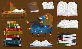 Elegancki młody żeński czytanie otwarta książka Kochanek literatura siedzi na krześle Sterta encyklopedie i przestawny royalty ilustracja