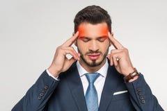 elegancki młody biznesmena cierpienie od migreny fotografia royalty free