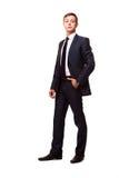 Elegancki młody człowiek w kostiumu i krawacie długopis biznesowej stylu biała kobieta Przystojna mężczyzna pozycja i patrzeć kam zdjęcia royalty free