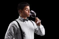 Elegancki młody facet pije wino Fotografia Royalty Free